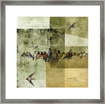 Framed Print featuring the digital art Birds On A Wire by Melissa Messick
