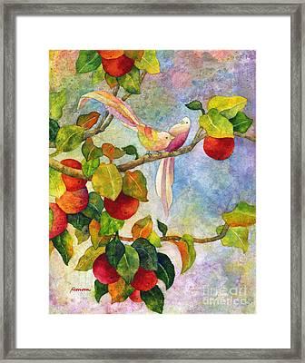 Birds On Apple Tree Framed Print by Hailey E Herrera