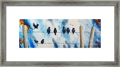 Birds On Barbed Wire Framed Print