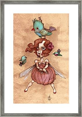 Birds On Head Woman Framed Print by Autogiro Illustration