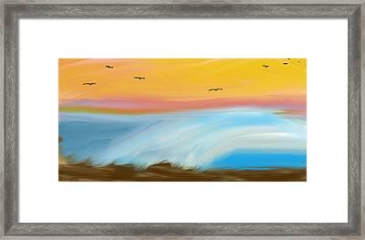 Birds Over The Ocean Framed Print