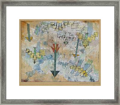 Birds Swooping Down And Arrows Framed Print