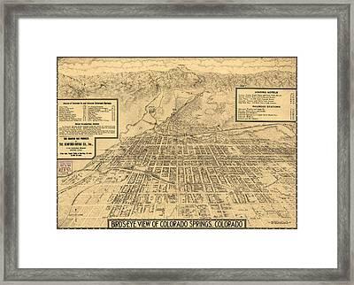 Birdseye Map Of Colorado Springs - 1909 Framed Print