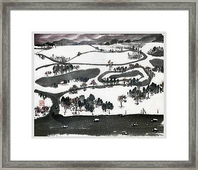 Birdview Of Forest Park From Queeny Tower Framed Print by Ping Yan