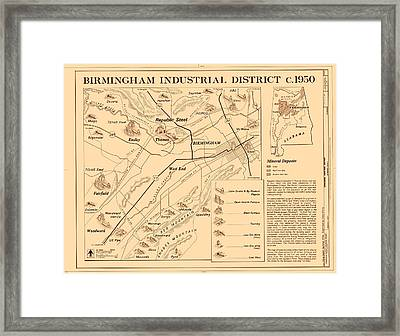 Birmingham Alabama Industrial District 1950 Framed Print
