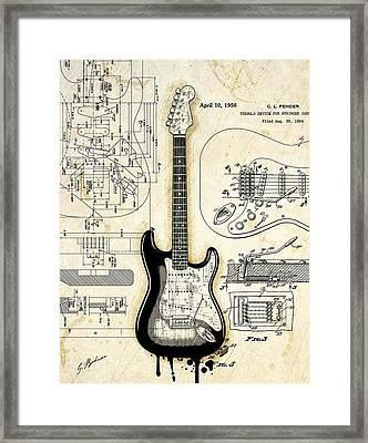 Fender Strat Birth Certificate Framed Print