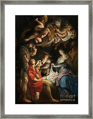 Birth Of Christ Adoration Of The Shepherds Framed Print