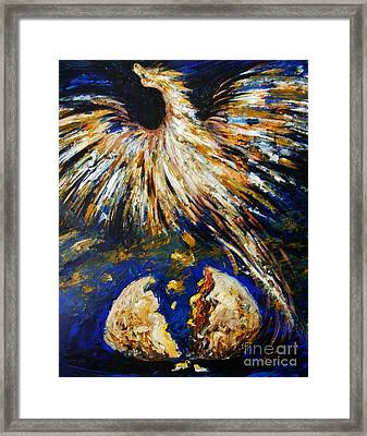 Framed Print featuring the painting Birth Of The Phoenix by Karen  Ferrand Carroll