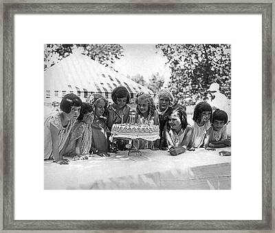 Birthday Cake Girl And Friends Framed Print by Underwood Archives