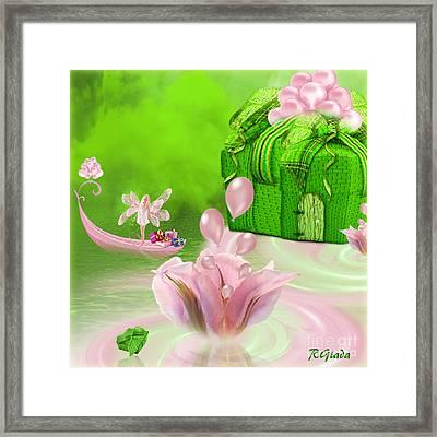 Birthday Fairy Goes To Work - Fantasy Art By Giada Rossi Framed Print by Giada Rossi