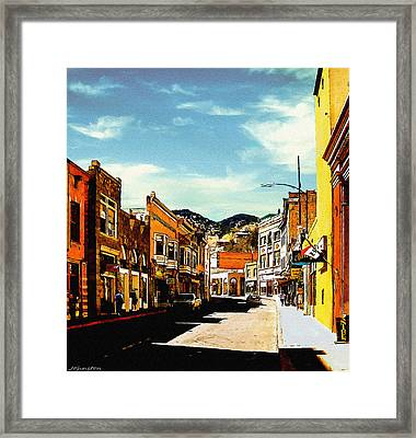 Bisbee Arizona Painting Framed Print by Bob and Nadine Johnston
