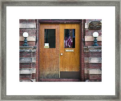 Historic Bisbee Building And American Flag Framed Print