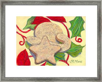 Framed Print featuring the pastel Biscochitos-nm State Cookie by Julie Maas