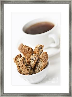 Biscotti And Coffee Framed Print by Elena Elisseeva