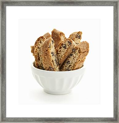 Biscotti Cookies In Bowl Framed Print by Elena Elisseeva