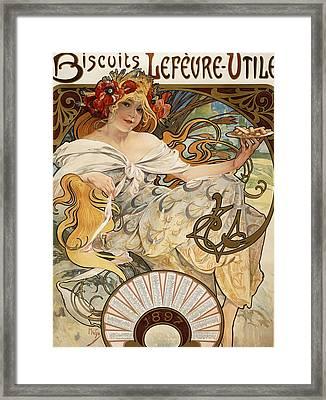 Biscuits Lefevre-utile Framed Print by Alphonse Marie Mucha