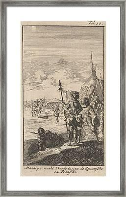 Bishop Mazarin Close The Peace Treaty Of Cherasco Framed Print