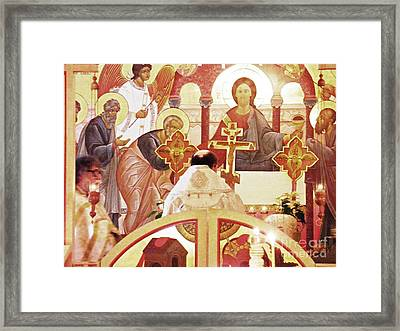 Bishop Michael At The Altar Framed Print by Sarah Loft