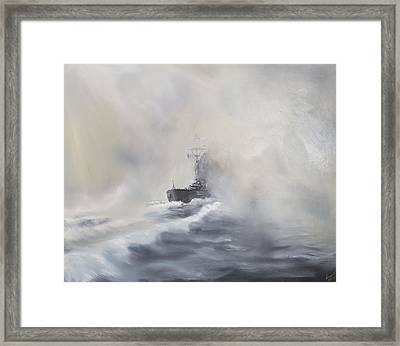 Bismarck Evades Her Pursuers Framed Print by Vincent Alexander Booth