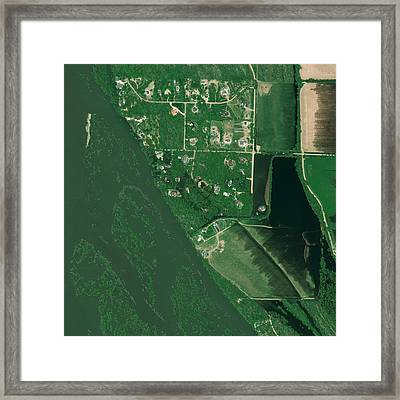 Bismarck Flooding, Usa, Satellite Image Framed Print by Science Photo Library