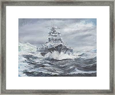Bismarck Off Greenland Coast  Framed Print