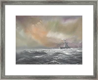 Bismarck Signals Prinz Eugen  Framed Print by Vincent Alexander Booth