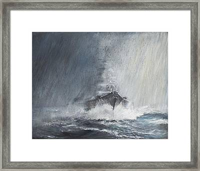 Bismarck Through Curtains Of Rain Framed Print by Vincent Alexander Booth