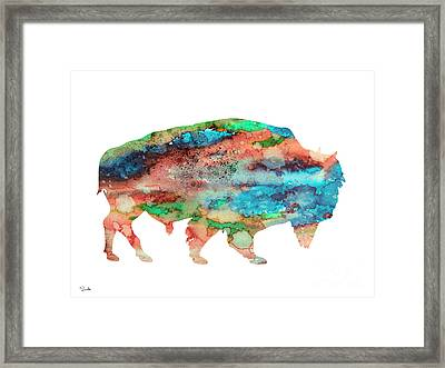 Bison 3 Framed Print by Watercolor Girl