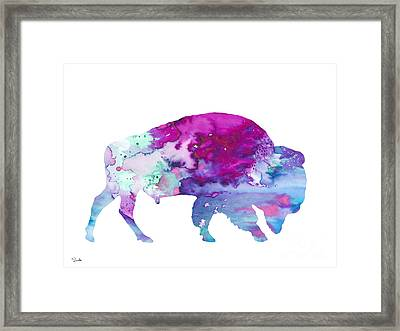 Bison 4 Framed Print by Watercolor Girl