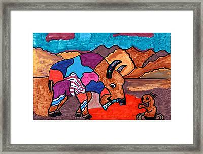 Framed Print featuring the drawing Bison And Prairie Dog by Don Koester