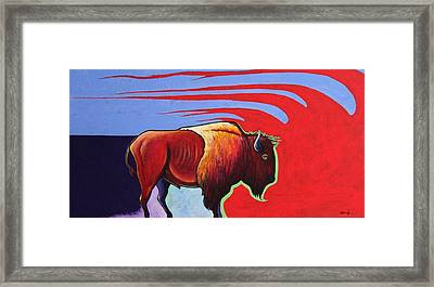 Bison In The Winds Of Change Framed Print by Joe  Triano
