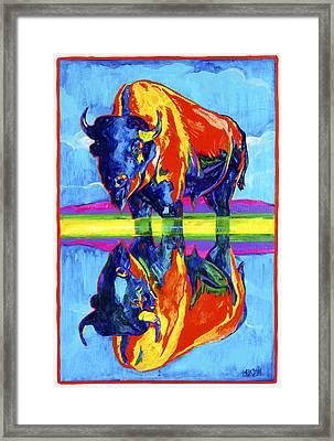 Bison Reflections Framed Print by Derrick Higgins