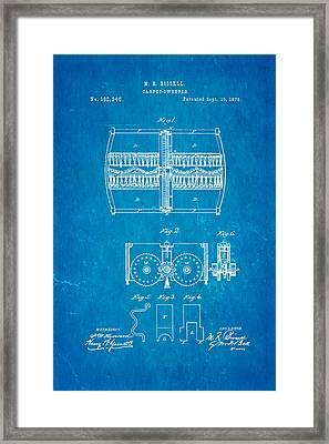 Bissell Carpet Sweeper Patent Art 1876 Blueprint Framed Print