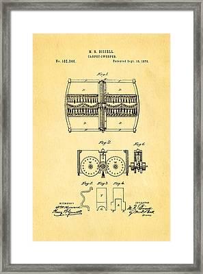 Bissell Carpet Sweeper Patent Art 1876 Framed Print