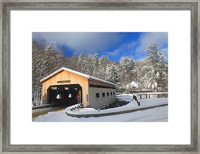 Bissell Covered Bridge In Winter Framed Print by John Burk