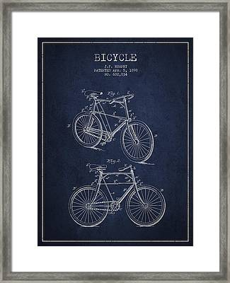 Bisycle Patent Drawing From 1898 Framed Print by Aged Pixel