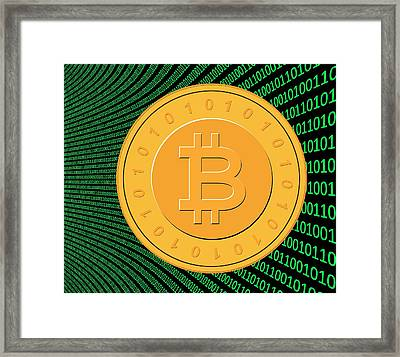 Bitcoin And Binary Code Framed Print by Victor De Schwanberg
