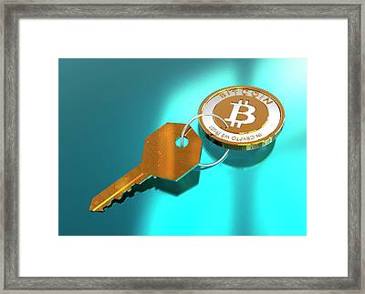 Bitcoin And Key Framed Print by Victor Habbick Visions/science Photo Library