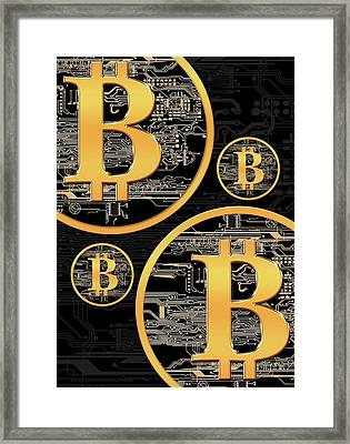 Bitcoin Logo On Circuit Board Framed Print by Victor Habbick Visions