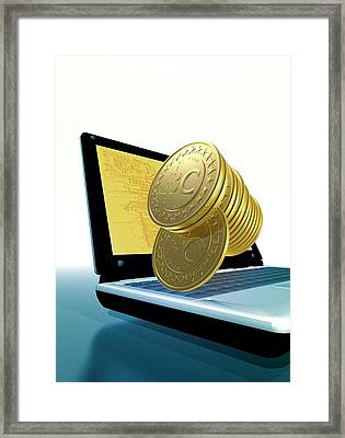 Bitcoins And A Laptop Framed Print