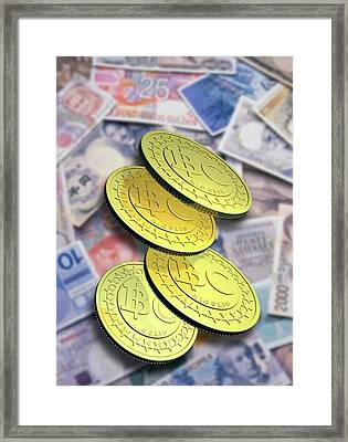 Bitcoins And Banknotes Framed Print