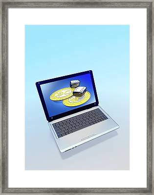 Bitcoins And Dice On A Laptop Framed Print by Victor Habbick Visions