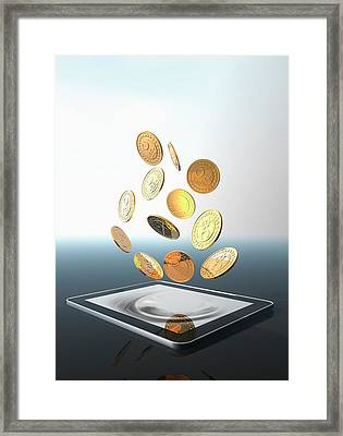 Bitcoins And Digital Tablet Framed Print