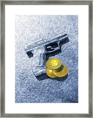Bitcoins And Gun Framed Print by Victor Habbick Visions
