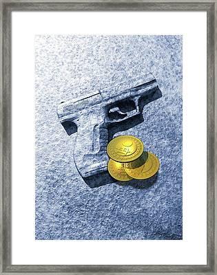 Bitcoins And Gun Framed Print