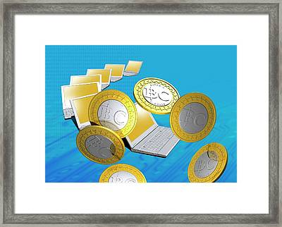 Bitcoins And Laptops Framed Print
