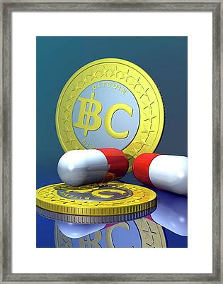 Bitcoins And Medicine Framed Print by Victor Habbick Visions