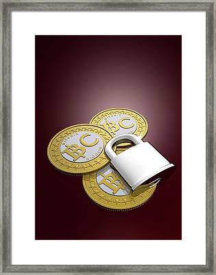 Bitcoins And Padlock Framed Print by Victor Habbick Visions
