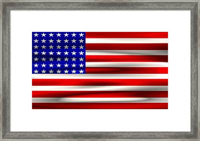 Bits And Bytes U. S. Flag Framed Print by Daniel Hagerman
