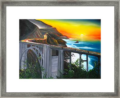 Bixby Coastal Bridge Of California At Sunset Framed Print by Portland Art Creations